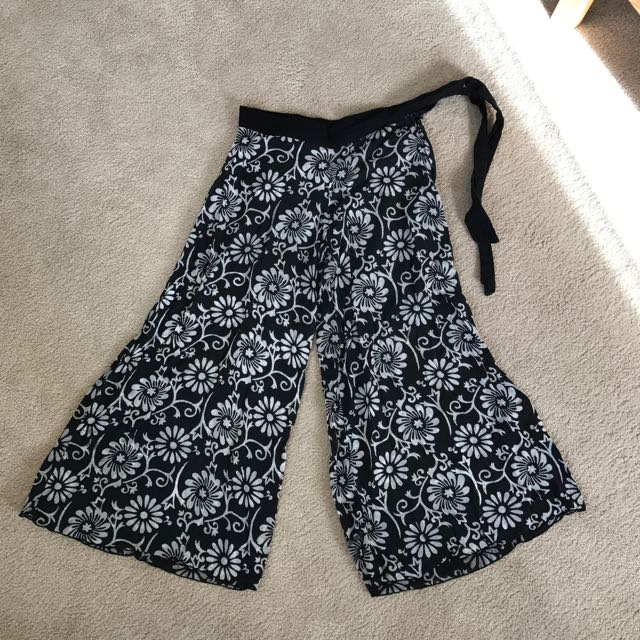 Floral Black and white culottes beach cover pant bali pants