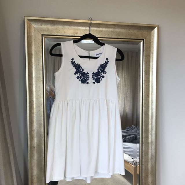 floral navy embroidery babydoll sleeveless dress