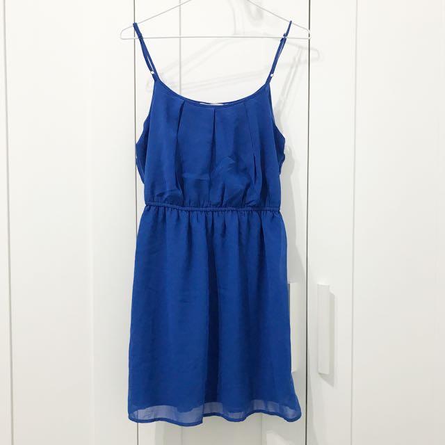 日本forever21購入寶藍色細肩帶小露性感洋裝