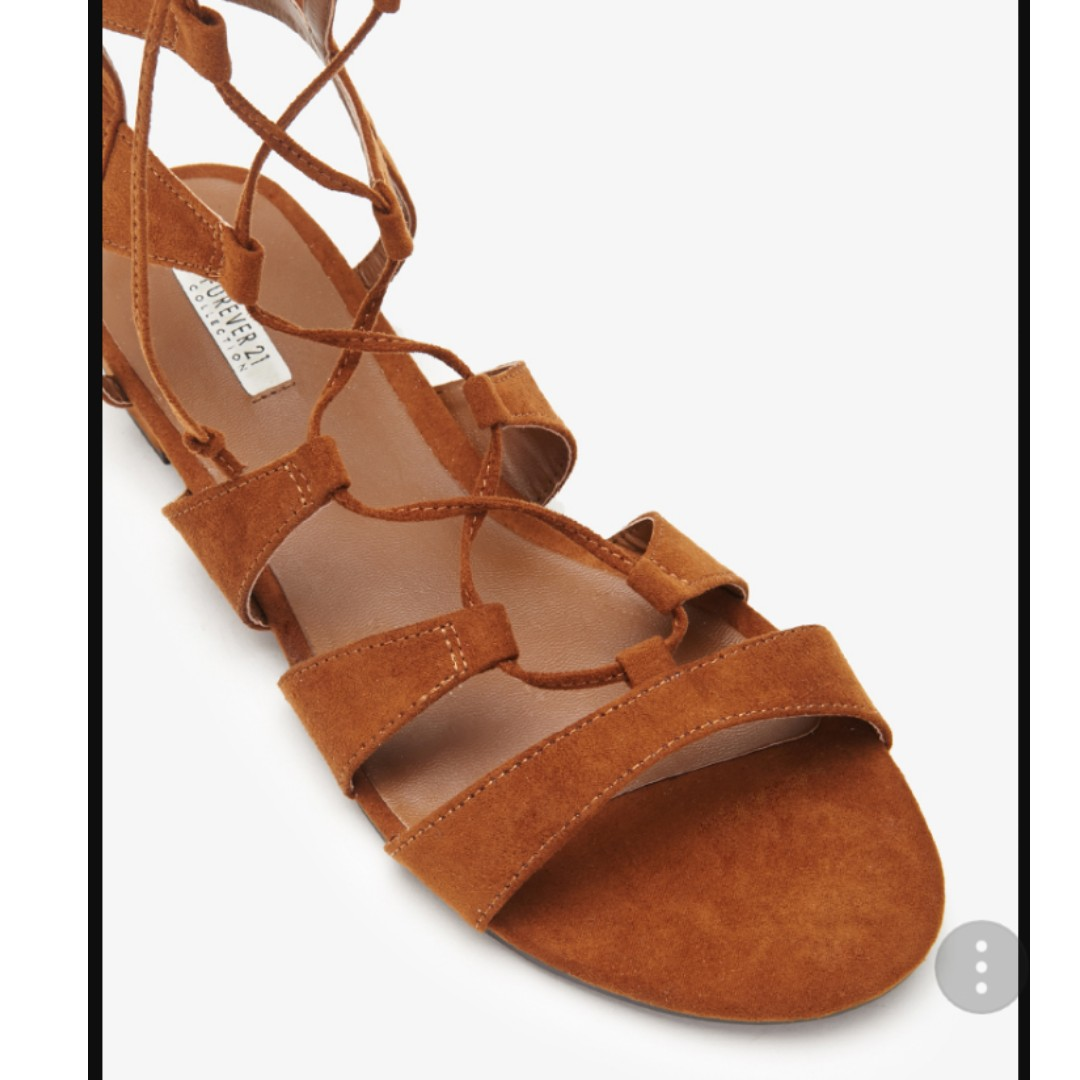 ffc86f9b141b Forever 21 Faux Suede Lace-Up Gladiator Sandals