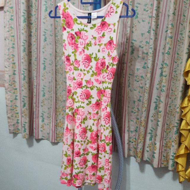 H&M Pink Roses Skater Dress