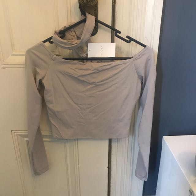 Kookai Sadie Off The Shoulder Crop With Choker Size 1