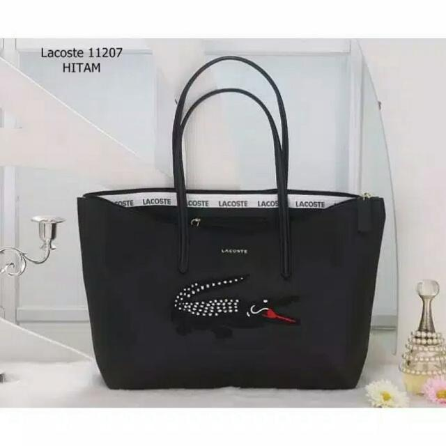 LACOSTE SHOPPER BLACK BAG