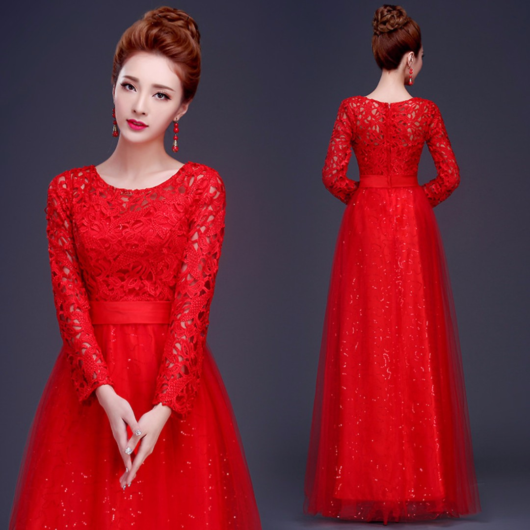 Long Sleeve Lace Red Gown, Women\'s Fashion, Clothes, Dresses on ...