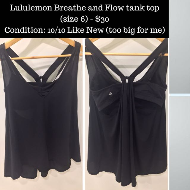 Lululemon Breathe And Flow Tank Top - Size 6