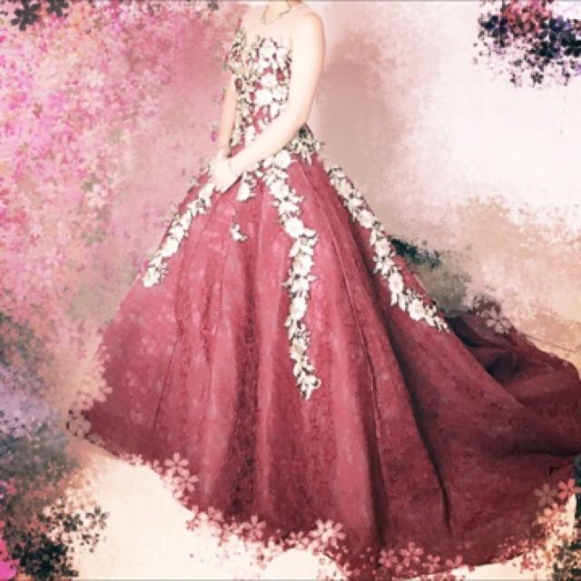 Maroon Laced Ball Gown, Women\'s Fashion, Clothes on Carousell