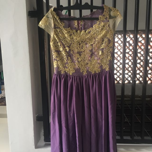 Midi Dress Purple Gold