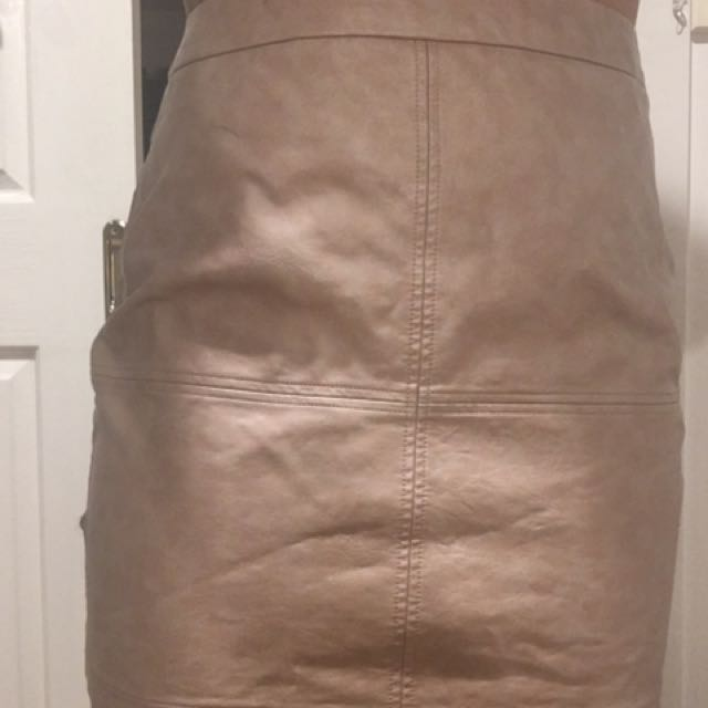 New Nude Fake Leather Skirt