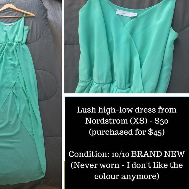 Nordstrom Lush High-Low Aqua Summer Dress