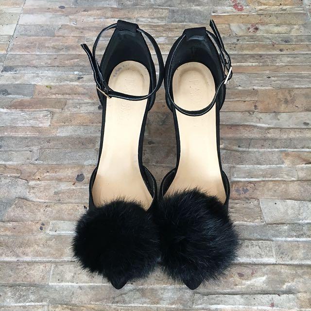 Parisian Black Pompom Heels