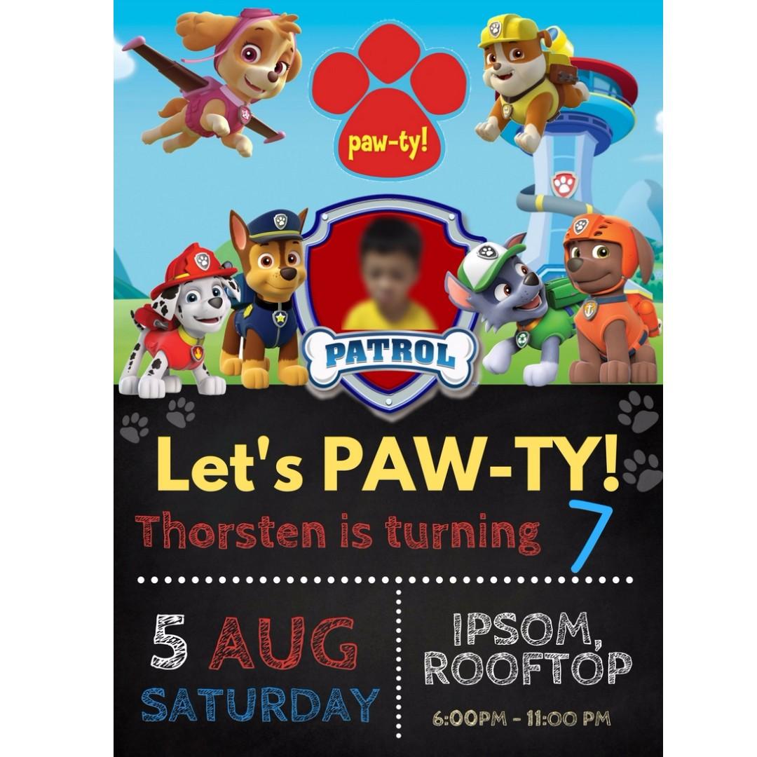 Paw Patrol Birthday Invitation Babies Kids On Carousell