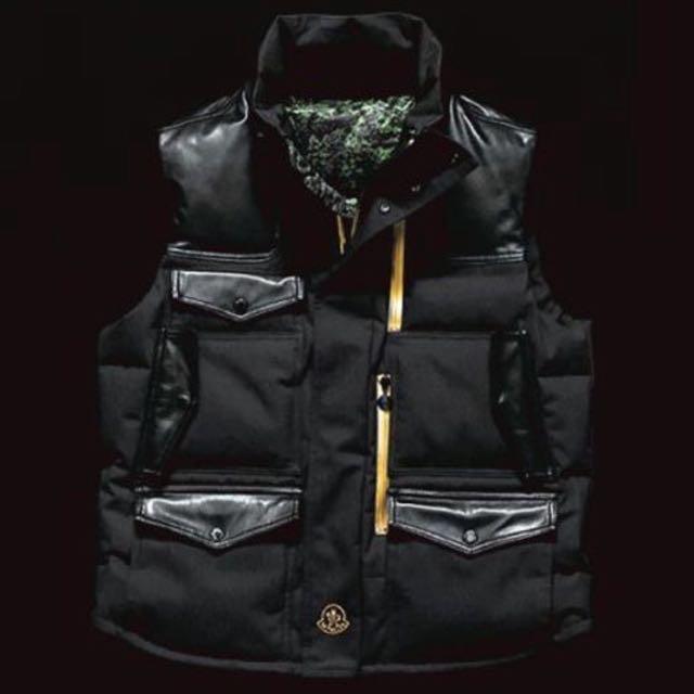bd0b2e1db6c Moncler x Pharrell Williams Collab Leather Down Gold Zip Vest Jacket ...