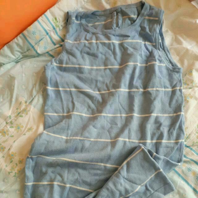 PRICE REDUCED!! Light Blue Knitted Dress White Stripes