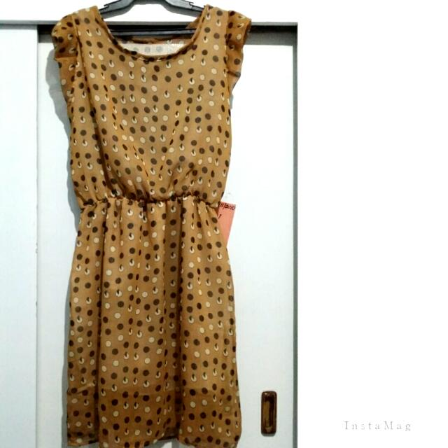 Printed Brown Chiffon Dress