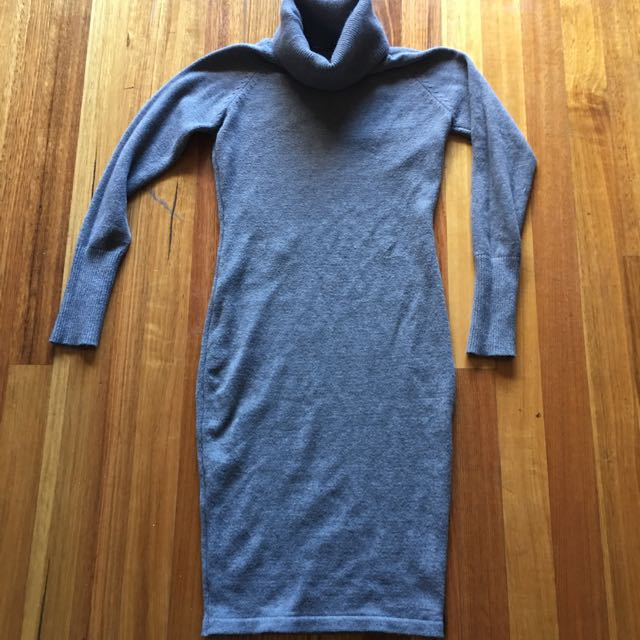 Roll Neck Grey Sweater Dress