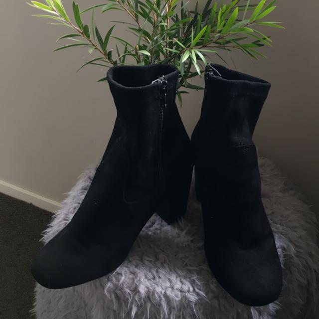 Rubi Shoes Black Faux Suede Boots