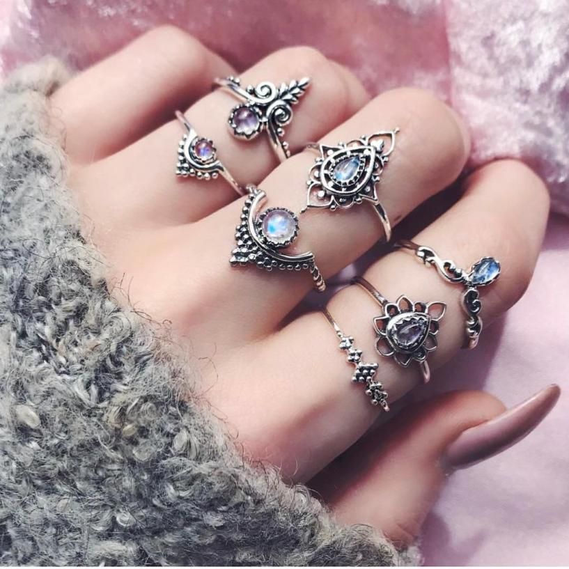 Silver Crystal 7pc Ring Set