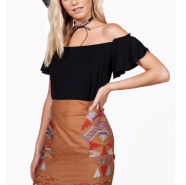 Tan Embroidered Skirt