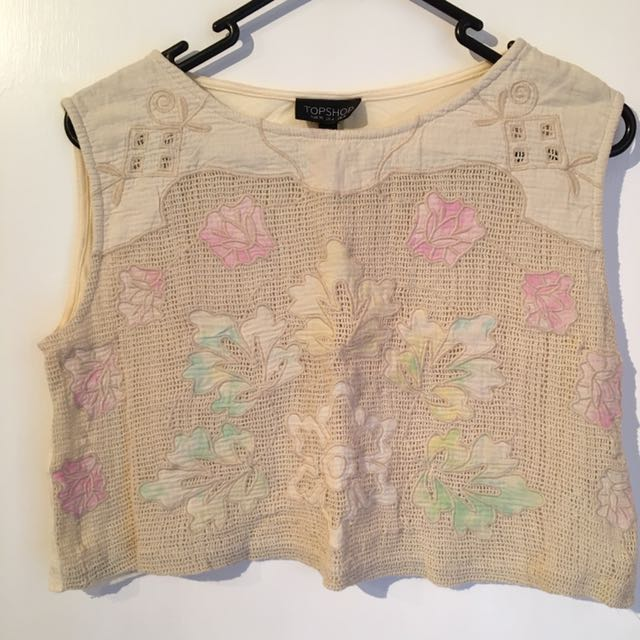 Topshop Cropped Cream Tank Top Size 8