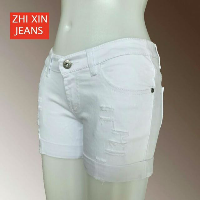 Woman Cuffed Denim Shorts White
