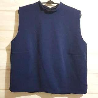 Shopatvelvet Cropped Top Navy Blue