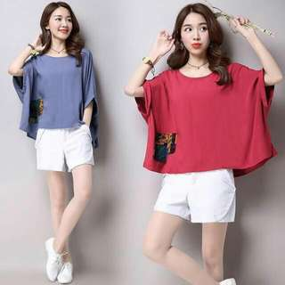 patch Batwing loose blouse