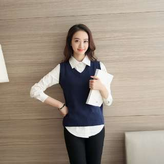 🚚 Woman Sweater vest Female V-Neck Knitted waistcoat loose Slim base women pullover