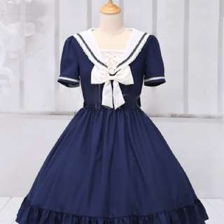 Sweet Lolita Marine Blue Sailor Dress Dark Blue Grey Bow Ruffles Cute XL