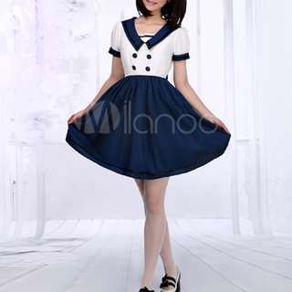 Navy Blue Sailor Style Dress Sailor Uniform Buttons Cute XL