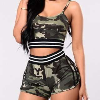 Fashion Nova Camo Two Piece Set