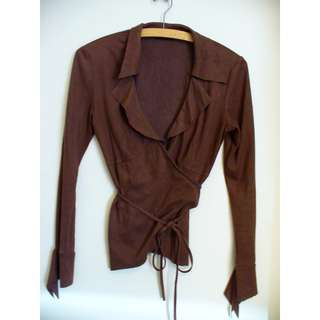 Vintage SEDUCE Soft Suede Feel Cross Over Top -Ruffled Detail -Like New!