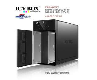 ICY BOX IB-3620 External 2 Bay JBOD system for 3.5' SATA I/II/III HDDs