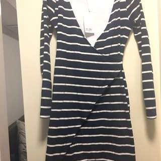 Kookai Navy Stripe Dress Size 2 BNWT