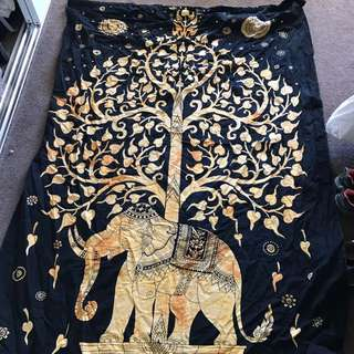Wall Hanging Huge Decor The Dye Tree Of Life Elephant Ishka Tapestry Yellow Tumblr