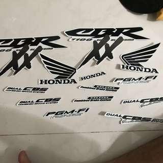 Cbr1100xx Honda Super Blackbird Decals Set