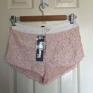 NEW Bluejuice Baby Pink Lace Short Shorts