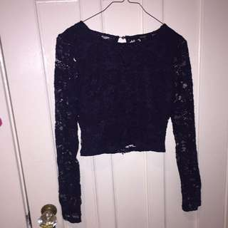 Forever 21 Cropped Lace Long Sleeve