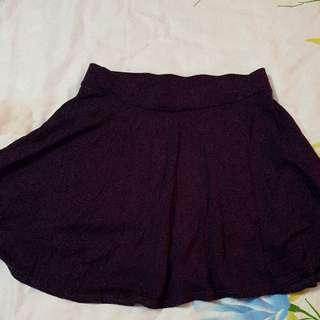 Dark Purple Miniskirt With Safety Pants