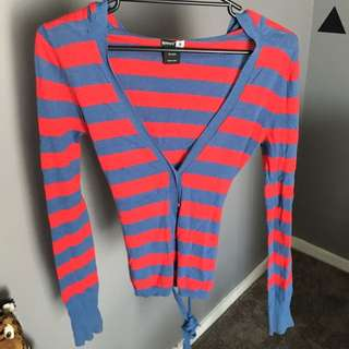 STRIPED KNIT CARDIGAN WITH HOOD SIZE S