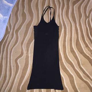 Knit Black Mini Dress Side Crochet Detail Size M Medium 12