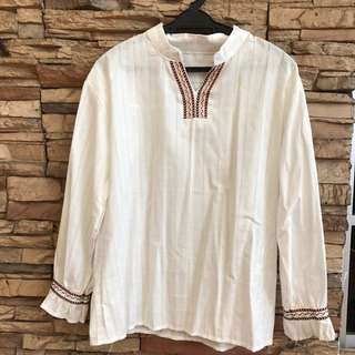 WHITE BOHO BLOUSE (POSTAGE INCLUDED) Open For Swap