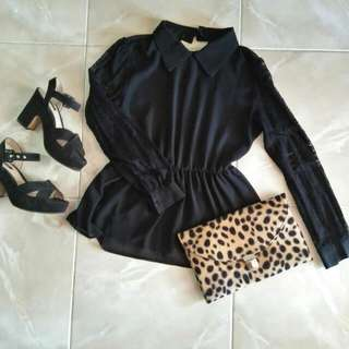 Black Chiffon Peplum Top