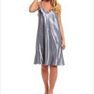 Silky Silver Nighty, Made In Italy, Size Small