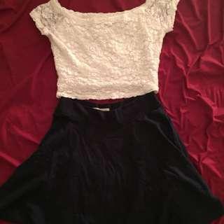 *SET* Hollister Lace Crop Top + Navy Skirt
