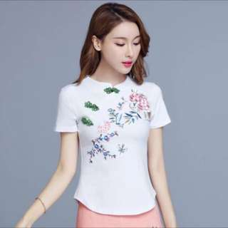 Brand New Embroidery  Woman Clothes-white (Chinese Collar)-L Size