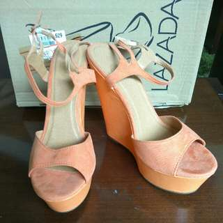 PRELOVED SIZE 40 LZD ORANGE STRAP WEDGES