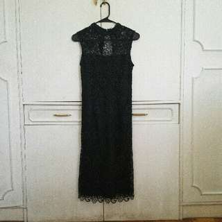 REPRICED! Mango Dark Green Lace Dress