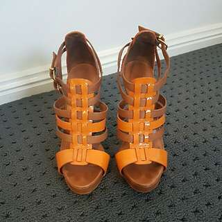 Schutz Orange and Tan Heels