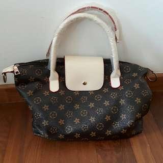 Flower Design Brown Handbag