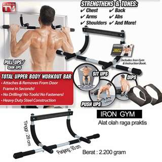 Iron Gym Total Upper Body Workout Bar Sport Chin Up Pull Sit up push ups dips